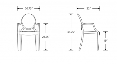 Philippe Starck Style Ghost Arm Chair - Louis